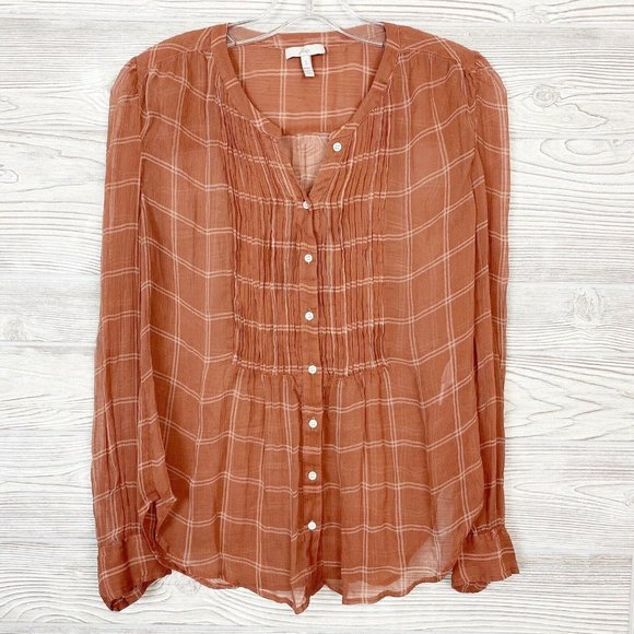 Joie Plaid Silk Sheer Button Up Top Small